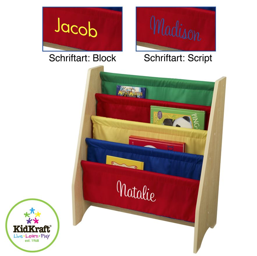 kinder b cherregal h ngefach regal personalisiert kidkraft bunt mit name. Black Bedroom Furniture Sets. Home Design Ideas